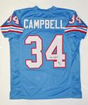 Earl Campbell Autographed Blue Pro Style Jersey With HOF- JSA Witnessed Auth