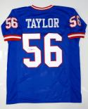Lawrence Taylor Autographed Blue Pro Style Jersey- JSA Witnessed Auth *Blk-Mid