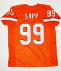 Warren Sapp Autographed Orange Pro Style Jersey- JSA Witnessed Auth R9