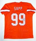 Warren Sapp Autographed Orange Pro Style Jersey With HOF- JSA Witnessed Auth R9