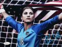 Hope Solo Autographed 8x10 Team USA Holding Flag Photo- JSA Witnessed Auth