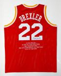 Clyde Drexler Autographed Red Stat Jersey- JSA Witnessed Authenticated
