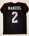 Johnny Manziel Autographed Black College Style Jersey W/ HT- JSA Witnessed Auth