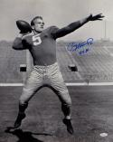 Paul Hornung Autographed Notre Dame 16x20 B&W Throwing Photo W/ 56 H- JSA W Auth