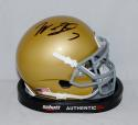 Will Fuller Autographed Notre Dame Gold Mini Helmet- JSA Witnessed Auth