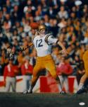 Roger Staubach Autographed Navy Midshipmen 16x20 Color Passing Photo- JSA W Auth