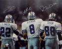 Aikman Irvin Smith Autographed 16x20 Triplets From Behind Photo- JSA W Auth