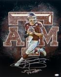 Johnny Manziel Autographed 16x20 A&M Logo Photo W/ Johnny Football- JSA W Auth