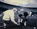 Joe Montana Autographed *Blue 49ers 16x20 Kneeling With Walsh Photo- JSA W Auth