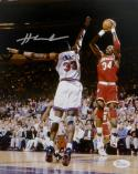 Hakeem Olajuwon Signed Houston Rockets 8x10 Against Ewing- JSA W Auth *Silver