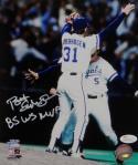 Bret Saberhagen Autographed Royals 8x10 Photo Arms Up P.F. JSA W Auth