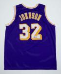 Magic Johnson Autographed Purple Jersey- Beckett Authentic Authenticated