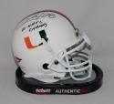 Clinton Portis Signed Miami Hurricanes Schutt Mini Helmet W/ Champs- JSA W Auth