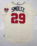 John Smoltz Autographed Atlanta Braves Cream Majestic MLB Authentic Jersey JSA