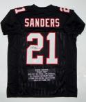 Deion Sanders Autographed Black Pro Style Stat Jersey- JSA Witnessed Auth