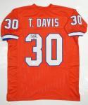 Terrell Davis Autographed Orange Pro Jersey HOF 17 Insc JSA W Authenticated
