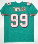 Jason Taylor Autographed Teal Pro Style Jersey- JSA Witness Authenticated *L9
