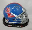 Evan Engram Autographed Ole Miss Rebels LT Blue Schutt Mini Helmet- JSA Auth