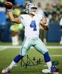 Dak Prescott Autographed Dallas Cowboys 8x10 Vertical Passing PF Photo JSAW Auth