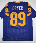 Fred Dryer Autographed Blue Pro Style Jersey w/ 104 Sacks - SGC Auth