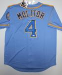 Paul Molitor Autographed Light Blue Milwaukee Brewers W/ '82 WS Patch Jersey- JSA Auth
