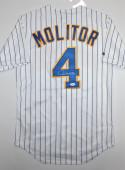 Paul Molitor Autographed White Pin Stripe Milwaukee Brewers Jersey- JSA Auth
