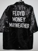 Floyd Mayweather Autographed Black Custom Robe Beckett BAS *Silver