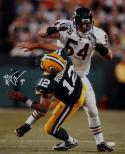 Brian Urlacher Autographed Chicago Bears 16x20 Hit On Rodgers Photo- JSA W Auth