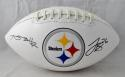 Antonio Brown LeVeon Bell Signed Pittsburgh Steelers Logo Football- JSA W Auth