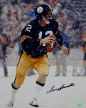Terry Bradshaw Autographed Steelers 16x20 Vertical Snow Photo- Tristar Auth