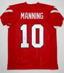 Eli Manning Autographed Red College Style Jersey- JSA Authenticated