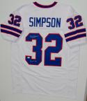 O. J. Simpson Autographed White Pro Style Jersey W/ HOF- JSA Witnessed Auth
