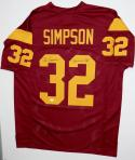 O.J. Simpson Autographed Maroon College Style Jersey- JSA Witnessed Auth