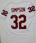O.J. Simpson Autographed White College Style Jersey- JSA Witnessed Auth