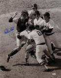 Carlton Fisk Autographed Red Sox 16x20 B&W Fighting Photo- JSA W Authenticated