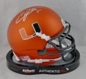 Andre Johnson Signed Miami Hurricanes Orange Schutt Mini Helmet JSA W Auth *Silver