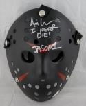 Ari Lehman Signed Friday The 13th Black Jason Mask W/ I Never Die- JSA Auth *Silver