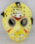 Ari Lehman Signed Friday The 13th Yellow Jason Mask W/ License To Kill- JSA Auth