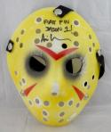 Ari Lehman Signed Friday The 13th Yellow Jason Mask W/ First Fin Jason1- JSA Auth