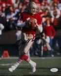 Joe Montana Autographed San Francisco 49ers 8x10 Passing Photo- JSA Auth *Black