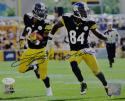 LeVeon Bell Antonio Brown Autographed Steelers 8x10 Running PF Photo- JSA W Auth