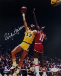 Kareem Abdul-Jabbar Autographed LA Lakers 8x10 Sky Hook Photo- JSA Auth *Silver