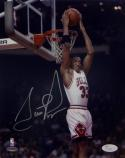 Scottie Pippen Signed Chicago Bulls 8x10 Reverse Dunk Photo- JSA Auth *Silver