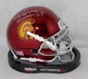 O. J. Simpson Heisman Signed USC Trojans Chrome Schutt Mini Helmet- JSA W Auth *Silver
