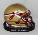 Deion Sanders Signed Florida State Seminoles Gold Schutt Mini Helmet- JSA W Auth *Black