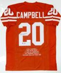 Earl Campbell Autographed Orange Stat Jersey W/ HT- JSA Witnessed Auth