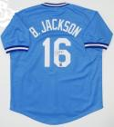 Bo Jackson Autographed Blue Baseball Style Jersey- JSA Witnessed Auth *6