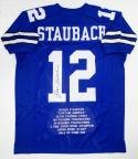 Roger Staubach Autographed Blue Pro Style Stat2 Jersey- JSA Witnessed Auth