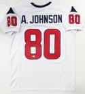 Andre Johnson Autographed White Pro Style Jersey- JSA Witness Auth *8