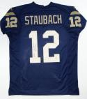 Roger Staubach Heisman Autographed Navy Blue College Style Jersey- JSA W Auth
